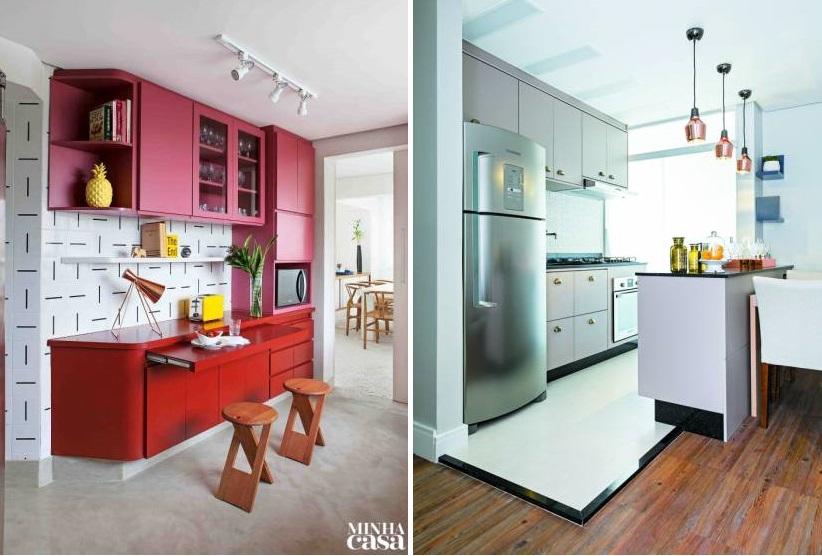 11 cozinhas pequenas com armários coloridos | Minha Casa